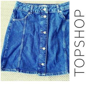 TopShop Denim Button Front Skirt 10